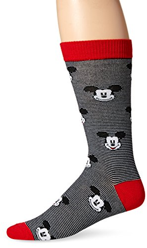 Disney mens Mickey Mouse Single Crew Casual Sock, Black, 10 13 US