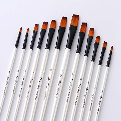 Flat Head Paintbrush Set Nylon Hair Paint Brush Set for Acrylic Oil Watercolor Painting Artist Professional Painting Kits(12pcs Pearl White Flat Head Brush Set)