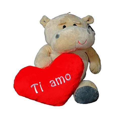 Dor Peluche Ippopotamo San Valentino con Cuore E Scritta Ti Amo 28 cm