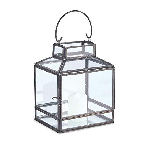 Loberon Laterne Ipswich, Glas, H/B/T ca. 17/13 / 10 cm, antikschwarz