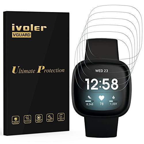 ivoler 6 Unidades Protector de Pantalla para Fitbit Sense/Fitbit Versa 3, [Cobertura Completa] [líquida Instalar] [No Burbujas] HD Transparente TPU Suave láminas Protectora