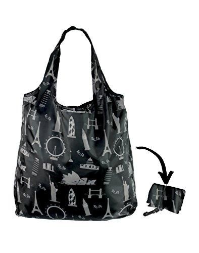 Re-Uz Lifestyle Shopper - pieghevole borse della spesa riutilizzabili - Travel Time Nero icone di viaggio