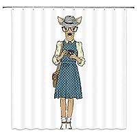 ファッションのヒップスターのようにドレスアップした素敵な鹿の写真の楽しい動物を撮影浴室の窓の装飾のための生地のホックが付いているポリエステル防水シャワー・カーテン60X72in