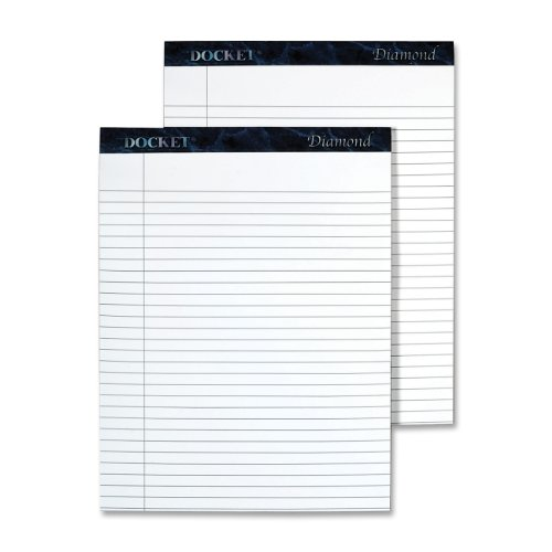 TOPS Docket Diamond 100% Recycled Premium Stationery Tablet, 8-1/2 x 11-3/4 Inches, Perforated, White, Legal/Wide Rule, 50 Sheets per Pad, 2 Pads per Pack (63975)