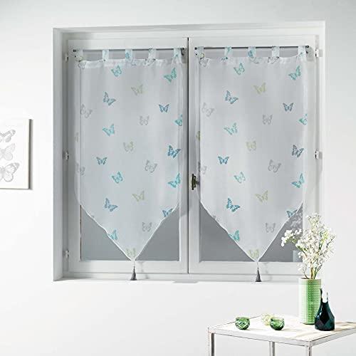 douceur d'intérieur Hesperia Paire Pompon Passants Voile IMPRIME Hesperia Polyester, Bleu, 90x60 cm