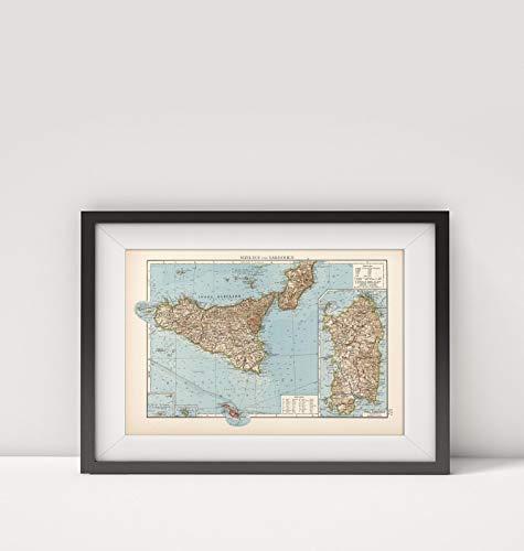 1905 Map of Italy|Sizilien und Sardinien|Sardinia (Italy)|Sicily (Italy)|Title: Sizilien und Sardini