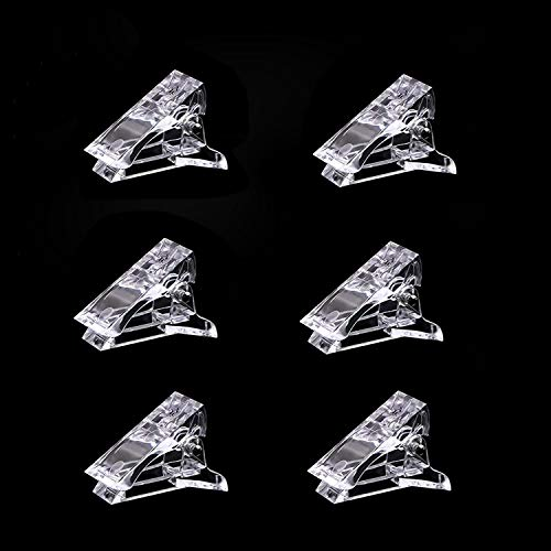 6Pcs Nail Tips Clip for Quick Building Polygel nail forms Nail clips for polygel Finger Nail Extension UV LED Builder Clamps Manicure Nail Art Tool