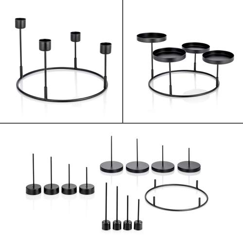 Online-Fuchs 3 in 1 Kerzenhalter für Adventskranz aus Metall zum Dekorieren - Für Stabkerzen, Stumpenkerzen und Teelichter