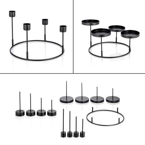 Online-Fuchs 3 in 1 Kerzenhalter für Adventskranz zum Dekorieren - Für Stabkerzen, Stumpenkerzen und Teelichter