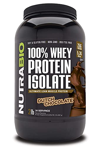 NutraBio 100% Whey Protein Isolate - Complete Amino Acid Profile - 25G of Protein Per Scoop - Soy and Gluten Free - Zero Fillers, Non-GMO, Protein Powder - Chocolate, 2 Pounds