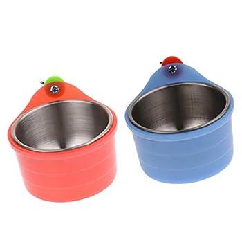 non-brand Sharplace 2pièces Mangeoire Oiseau Distributeur Alimentation Bol de Nourriture et Eau Abreuvoir pour Perroquet Perruches Pigeons