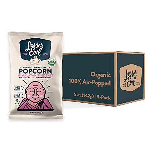 Lesserevil Himalayan Pink Salt Organic Popcorn, No Artificial Ingredients, Coconut Oil, 5 Oz, Pack of 3