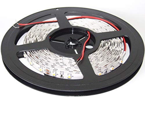 24VDC SMD3528 60LEDs/m 4.8W/m blanc chaud 2200K-2400K bande de LED flexible (strip), 8mm white PCB, IP20, 5m a reel (24W, 300LEDs)