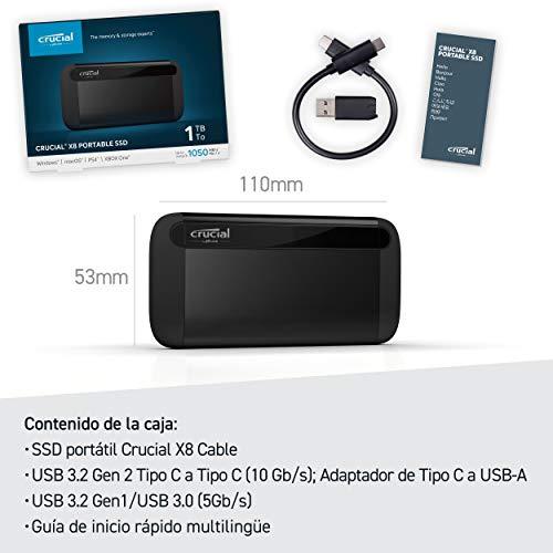 Crucial CT1000X8SSD9, 1 TB, X8 Portable SSD, de hasta 1050MB/s, USB 3.2, USB-C, USB-A