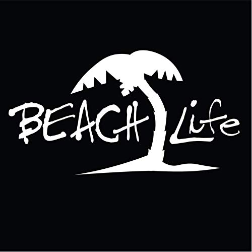 Beach Life Vinyl Decal Sticker | Cars Trucks Vans SUVs Walls Cups Laptops | 7 Inch Decal | White | KCD2760