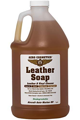 Limpiador de cuero, jabón, calidad aeronáutica para su coche, caravana y muebles, 473 ml aprox., cumple las especificaciones de los aviones de Boeing