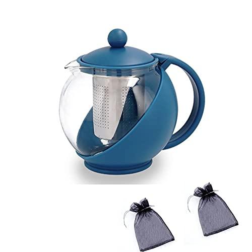 Jarra de Vidrio Filtrante para tés de 750ml Vidrio de Altísima Calidad Resistente al Calor + 2 Bolsitas de Orgaza Para Guardar Infusiones (jarra azul)