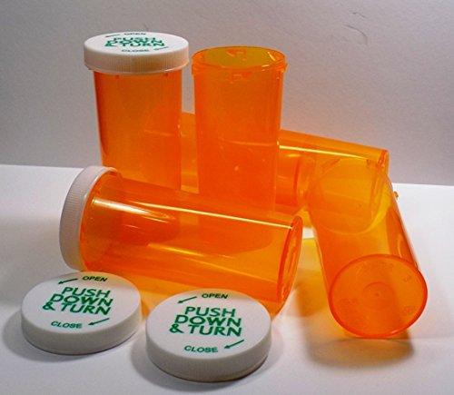 Plastic Prescription Vials/Bottles 25 Pack w/Caps Larger 16 Dram Size-New