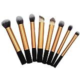 Pincel de maquillaje de oro 8 PC fijó el artista cepillo de base colorete de maquillaje herramientas de belleza profesionales de alto brillo