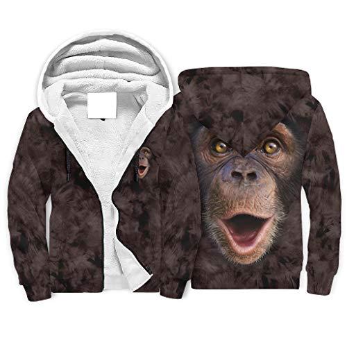 shenminqi Orangutan Smiling Face Fashion Sudadera con capucha de forro polar con cremallera completa y ajuste clsico para hombres y mujeres