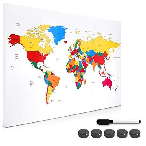 Navaris Tablero de Notas magnético - Pizarra con diseño de mapamundi Colorido - Pizarra magnética con Marcador Negro y 5 imanes