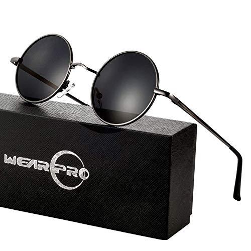 wearPro Retro Polarisiert Sonnenbrille Herren Damen Verspiegelt - Runde Retro Polarisierte Sonnenbrille Herren Damen Vintage (E-Linse:Schwarz,Gestell:Metallfarbe)