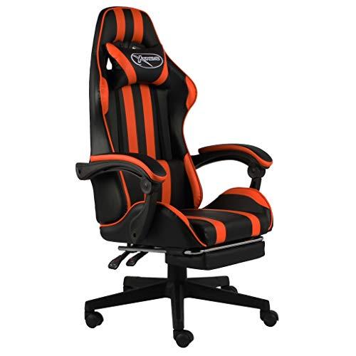 vidaXL Silla para videojuegos con reposapiés, altura ajustable, silla de escritorio, silla de oficina, silla giratoria, asiento deportivo, color negro y naranja