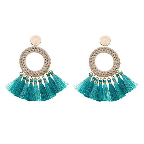 Treend24 Dames Boho oorbellen kwast oorbellen roségoud ibiza bohomenia steker hippie (turquoise)