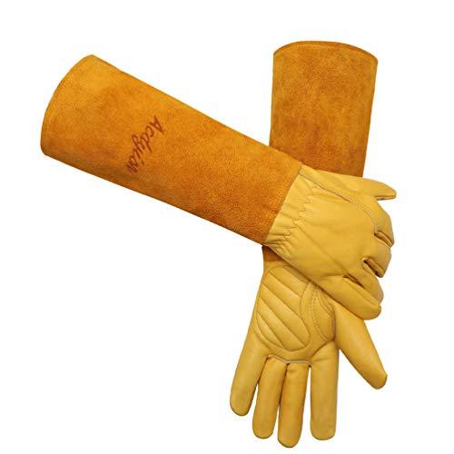Rosen Gartenhandschuhe für Frauen und Männer, gepolsterte Palmen Thorn & Cut Proof Langer Unterarmschutzhandschuh Rindsleder Leder pannensichere Gartenarbeitshandschuhe für Damen(Gelb,L)