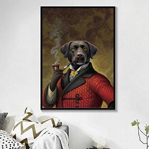 ganlanshu Rahmenloses Gemälde Elegantes Schwarzweiss-Hundekatze-Wolfsfuchs-Wandkunstplakat und Tiermuster mit HutdekorationZGQ7060 40X50cm