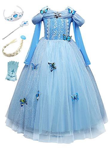 Monissy Costume Reine des Neiges Princesse Elsa Robe à Plusieurs Niveaux Bleu Dentelle Manche Longue Tulle Brillant Papillon Diadème Perruque Gant Baguette Déguisement Halloween Anniversaire,Bleu, 130
