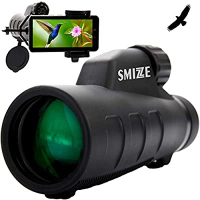SMiZZE HIGH Definition Monocular Telescope 12X50 for Surveillance > Quick Focus & Smartphone Holder > BAK-4 FMC Prism Waterproof FogProof Shockproof for Bird Watching Travel Wildlife Camping Hunting by SMIZZEX_Monocular_Pro12X