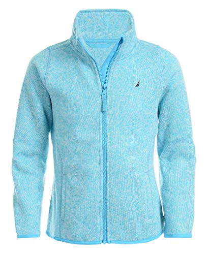 Nautica Girls' Big School Uniform Full-Zip Fleece Sweater, Turquoise, Large(12/14)