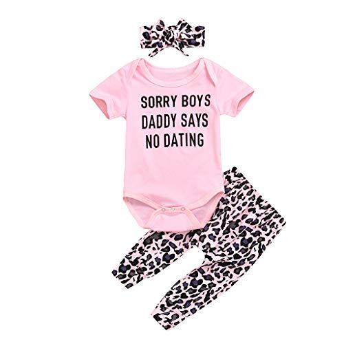 Neugeborene Kinder Baby Mädchen Bekleidungsset Kurzarm Romper Strampler Leopardenmuster Hosen Stirnband Outfits, Rosa, 0-12 Monate