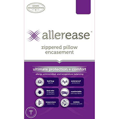 AllerEase Ultimate Protection & Comfort Temperature Balancing Pillow Protector – Zippered, Allergist Recommended, Prevent Collection of Dust Mites and Other Allergens, Standard/Queen - 2 Pack