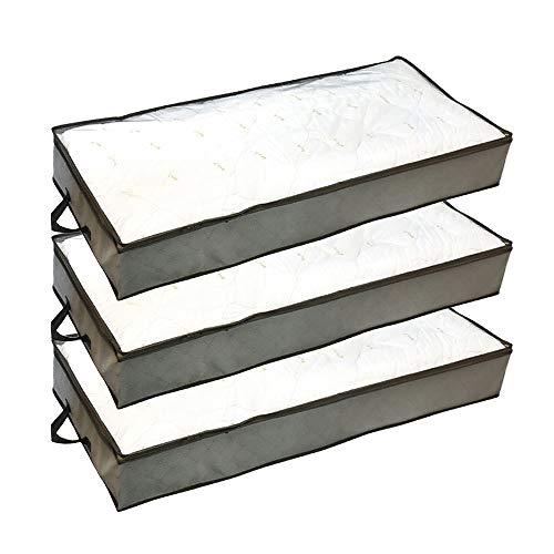 Gobesty Unterbettkommode, 3 Stück 70 L Unterbett Aufbewahrungstasche mit Transparentem Sichtfenster und Haltegriffen Atmungsaktiv Lagerung für Bettdecken, Decken, Kleidung, Kissen und mehr (Grau)