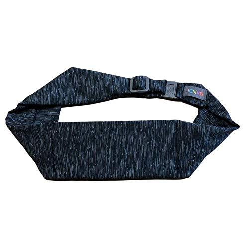 BANDI Large Pocket Belt Holds Phone for Running, Travel, Medical, Adjustable Fit, Comfortable (Black and Grey Strata)