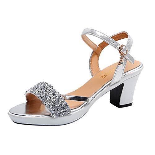 Sandali Donna Eleganti Con Tacco E Plateau Gioiello Sandali Estivi Ragazza Con Tacco Medio E Largo Con Cinturino Sandalo della Cintura della Caviglia Da Spiaggia Mare Piscina Scarpe Da Cerimonia