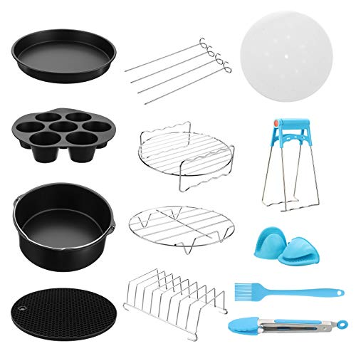 13Pcs Air Fryer Accessories Frying Baking Pan Rack Pizza Tray Pot Set, Suitable for 4.8-6.3QT Air Fryer, BPA Free, Dishwasher Safe, Nonstick Coating