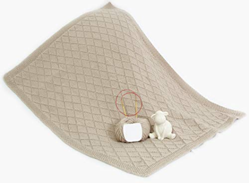 Strickset Merino - Babydecke Wunschkind in 40x50 oder 60x80 cm (60x80, Hellgrau)