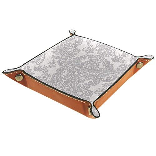 KAMEARI Ledertablett Batik Silber Schlüssel Telefon Münzbox Rindsleder Münzablage Praktische Aufbewahrungsbox für Geldbörsen, Uhren, Schlüssel, Münzen, Handys und Büroausstattung