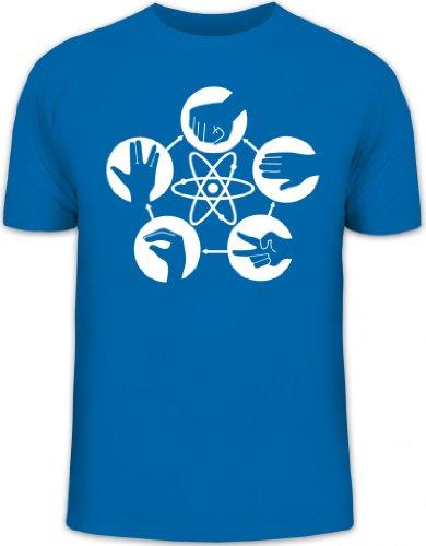 Shirtstreet24, Atom - Stein Schere Papier, Herren T-Shirt Fun Shirt Funshirt Shirts, Größe: XXL,royal blau