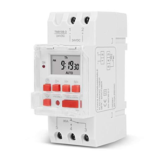 YXDS Interruptor Temporizador Digital de Carga Pesada 5000W 30A Interruptor automático programable de 24 Horas para Carga de iluminación LED ON/of 24VDC / AC