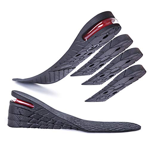 """Height Increase Insole for Men Women, 4-Layer Invisible Adjustable from 1.2"""" to 3.0"""" Inserts Heel Lifts Kit Orthotic Peak Hidden Add Height to Make You Taller Elevator Shoes Insoles (Black)"""