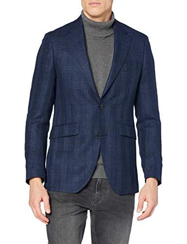 Hackett London Blue Hopsack Check CC Chaqueta, Azul, 42 Short para Hombre