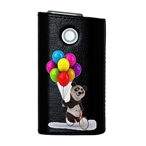glo グロー グロウ 専用 レザーケース レザーカバー タバコ ケース カバー 合皮 ハードケース カバー 収納 デザイン 革 皮 BLACK ブラック アニマル パンダ 風船 カラフル キャラクター 008702