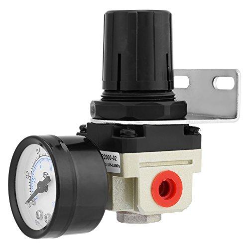 Regulador Filtro Aire Ar2000-02 G1 / 4, Unidad Tratamiento Gas Tratamiento Aire Comprimido Regulador Presión Filtro con Manómetro 9 X 4,2 X 4,2 cm