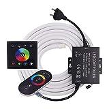 xunata luce al neon a strisce led rgb 220v con kit di controllo remoto e pannello tattile, striscia al neon flessibile 5050 led impermeabile- 6 metri