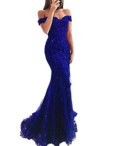 YSMei Lace Mermaid Tulle Prom Dresses Off Shoulder Long Wedding Party Gown with Train Royal Blue 12