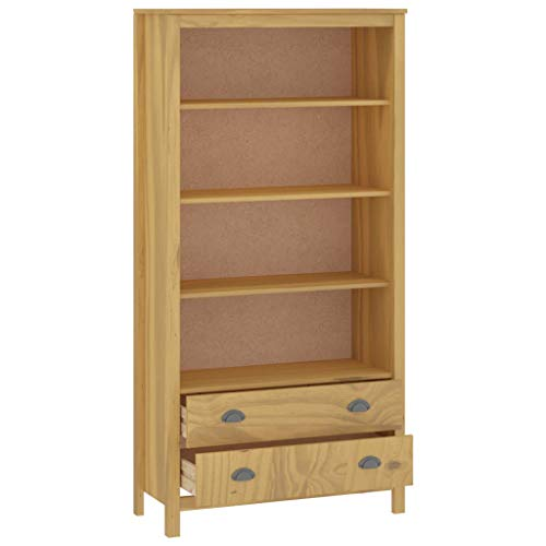 Ausla Estantería de madera maciza de pino con 2 cajones y 4 estantes abiertos para muebles de oficina de salón, 85 x 37 x 170,5 cm, color marrón miel